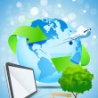 Abstract Background with Planet Earth Airplane and Tablet Comput - Vettoriali Stock