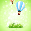 Royalty-Free Stock 矢量图片: Green Background with Grass and Hot Air Balloons