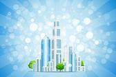 Blauwe achtergrond met werkadres, plaats en stralen — Stockvector
