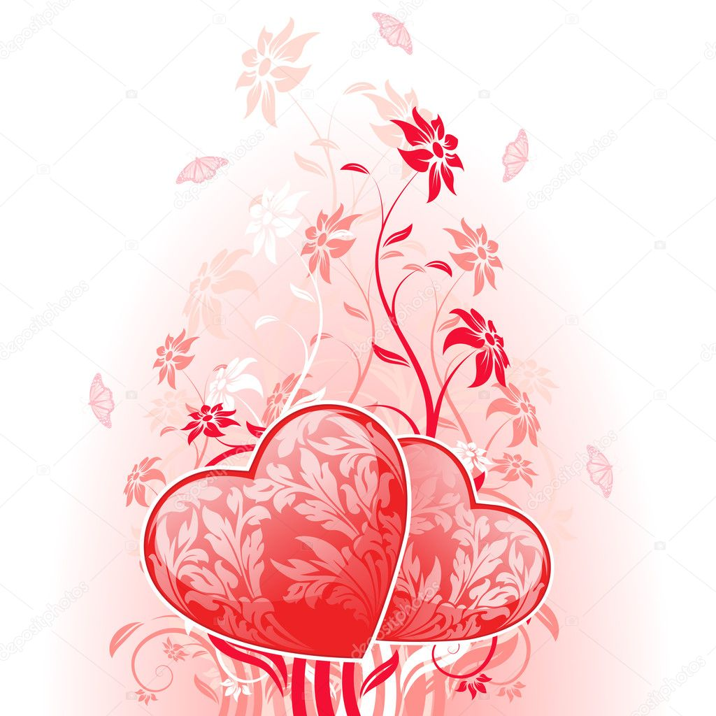 Valentines Day Card with flowers on white background  Stock Vector #8449363