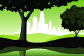 Paisaje nocturno con árboles y silueta de la ciudad — Vector de stock