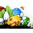 Easter Eggs with Flowers — Stock Vector