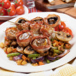 Stock Photo: Grilled bacon and mushroom skewer