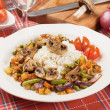 Portabello mushrooms with rice and vegetables — Stock Photo #10575920