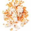 Popcorn and corn isolated on white — Foto Stock