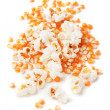 Popcorn and corn isolated on white — Stok fotoğraf