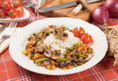 Portabello mushrooms with rice and vegetables — Stock Photo