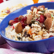 Cereal muesli with dried fruit and nuts - Stock Photo