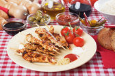 Grilled chicken skewer — Stock Photo