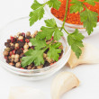 Parsley, peppercorn and ground chili pepper - Stock Photo
