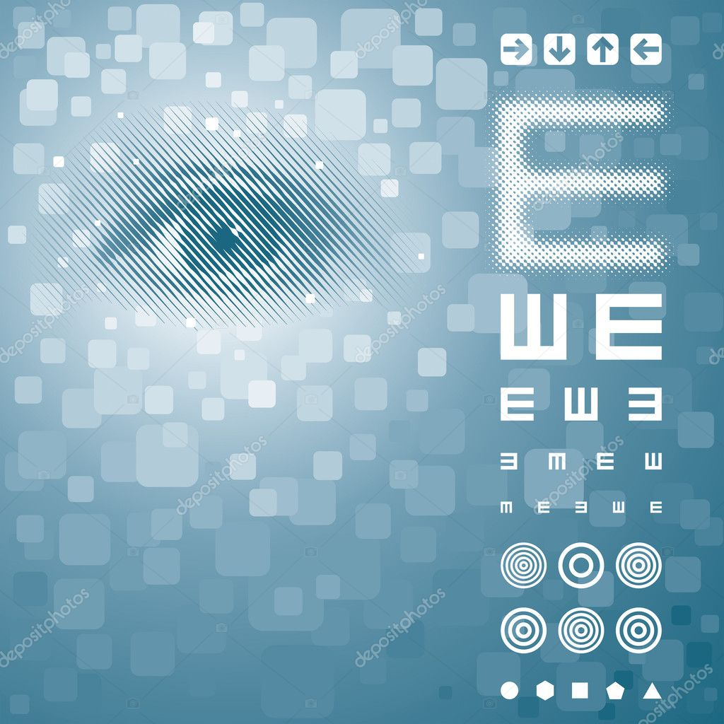 Eye background with vision test chart. Vector layered.  Stock Vector #9121678