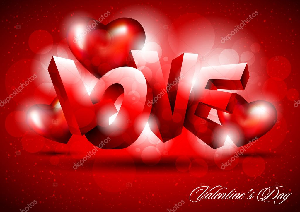The word love on red background   Stock Vector #8727979