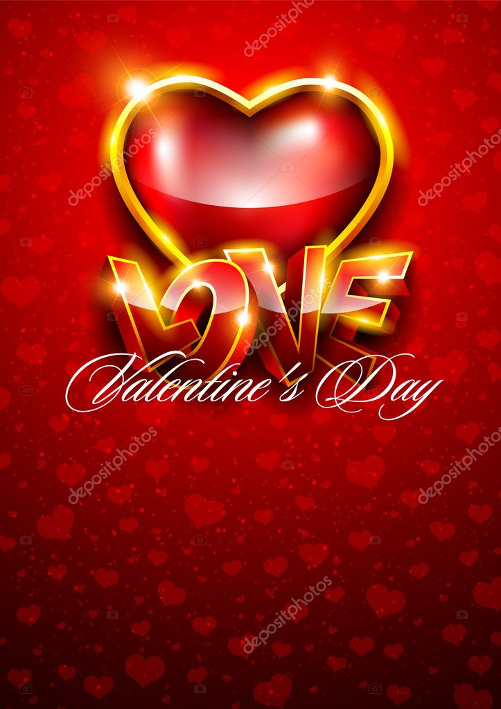 3D Valentines background with red heart — Stock Vector #8767256