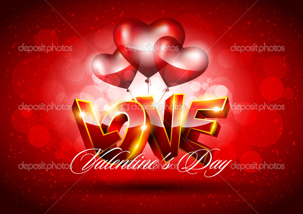 3D Valentines background with red heart — Stok Vektör #8767257
