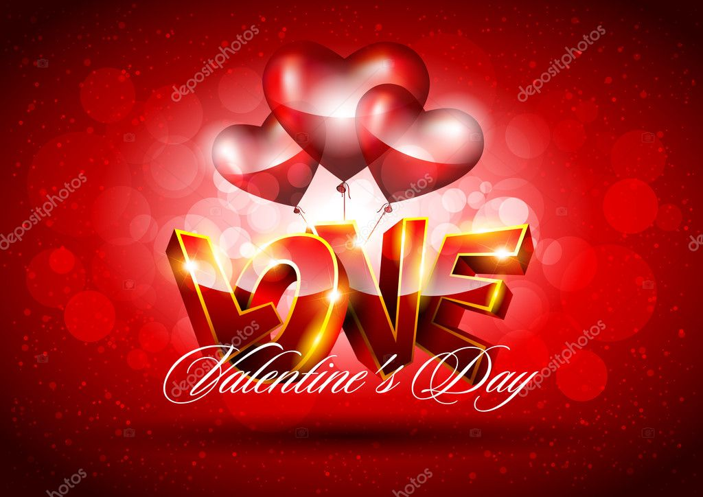 3D Valentines background with red heart — Imagen vectorial #8767257