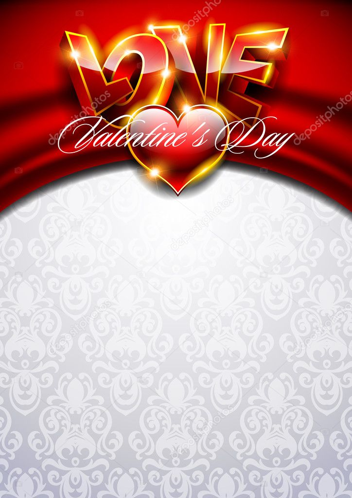 3D Valentines background with red heart — Stock Vector #8767258
