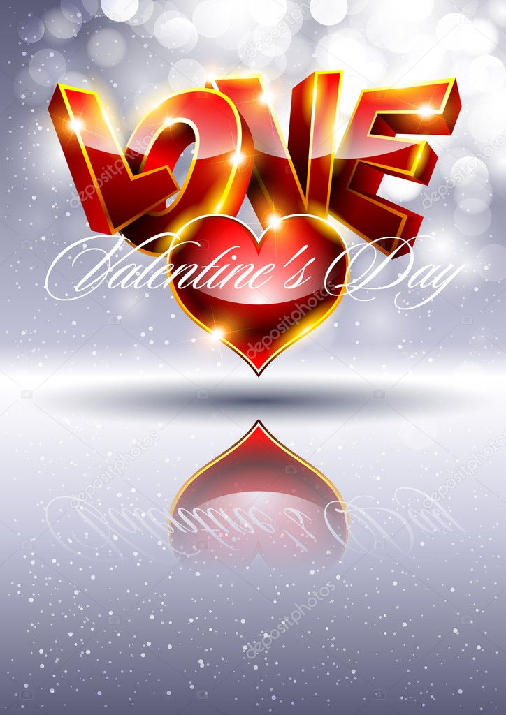 3D Valentines background with red heart — Stock Vector #8767259
