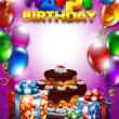 Birthday Day Card, Vector Illustration - Imagens vectoriais em stock
