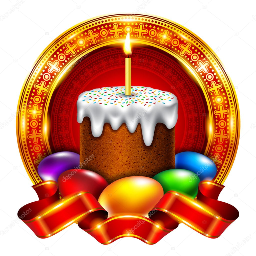 Easter cake with colored eggs — Imagen vectorial #9783846