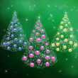 Three Christmas trees with garlands and New Year's balls - Stock Photo