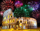 Celebratory fireworks over Collosseo. Italy. Rome — Stock Photo