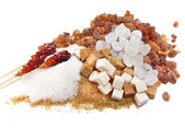 Granulated sugar, sugar not refined, sugar candy white and brown -allsorts — Stock Photo
