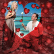 Romantic card for valentine's day- Loving couple and hearts — Stock Photo