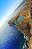 Greece, Rhodes. Aerial view on St. Paul's bay in Lindos — Stock Photo