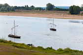 France. Two boats on the river Loire. — Stock Photo