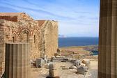 Greece, Rhodes, Acropolis, temple ruins — Stock Photo