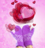 Mittens and hearts- romantic card for valentine's day — Stock Photo