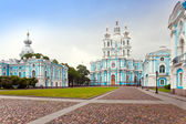 View on Smolnyi cathedral (Smolny Convent) St. Petersburg — Stock Photo