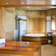 Standard tropical interior of the bathroom finished with natural materials — Stock Photo