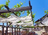 露天咖啡馆上的缠绕周围绿色露台。保加利亚 — 图库照片