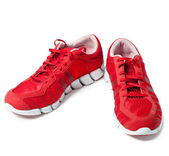 Brightly red trainers — 图库照片