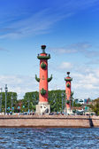 Russia. Petersburg. An arrow of Vasilevsky island and Rostral columns. — Stock Photo