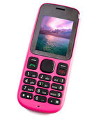 Bright pink phone with the sea photo on the screen — Stock Photo