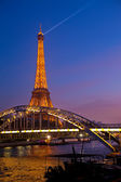 Eiffel Tower in festive illumination to Birthday March 31, 2012 in Paris, France. — Stock Photo
