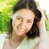 Güzel ve mutluluk kadın — Stok fotoğraf