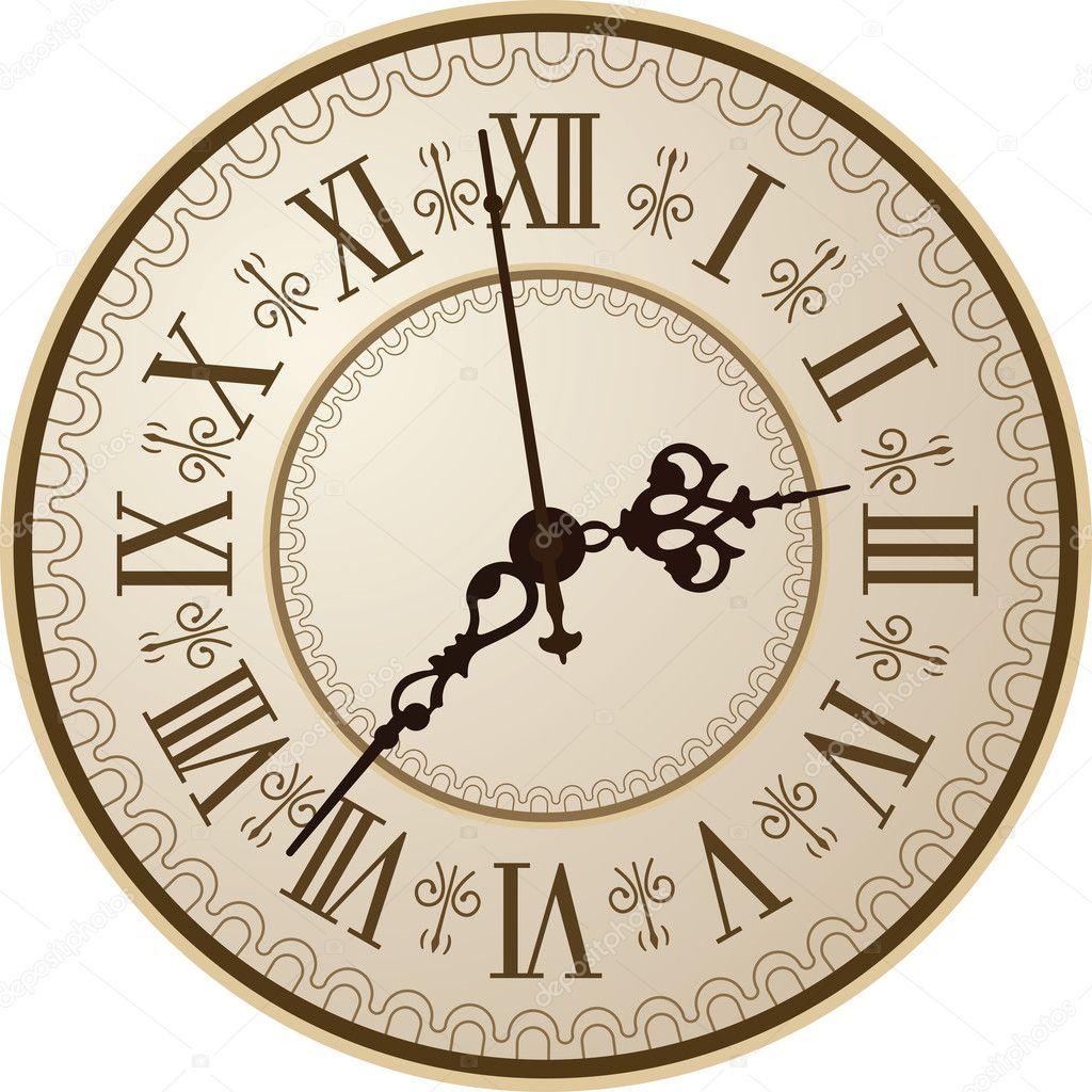Antique clock — Stock Vector © vtorous #10225215
