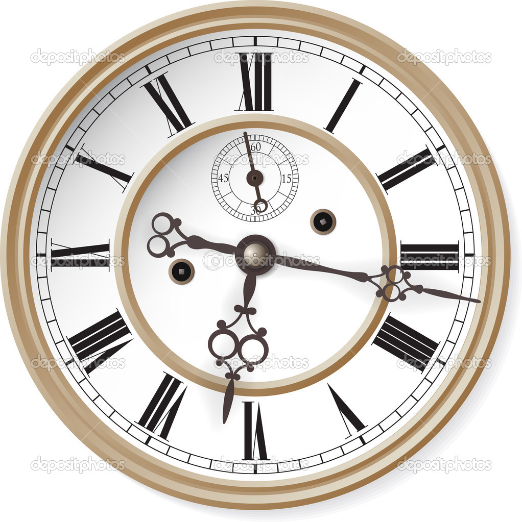 Antique clock. Vector illustration. — Stock Vector #10598454