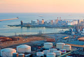 LNG Tanks at the Port of Barcelona at Sunset — Stock Photo