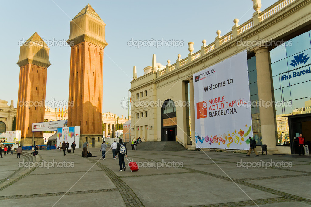 BARCELONA, SPAIN - February 25: The GSMA Mobile World Congress is the  world's largest exhibition for the mobile industry — Stock Photo #9207430
