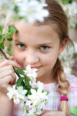 Beautiful Girl in the flowers garden — Stock Photo