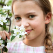 Stock Photo: Beautiful Girl in the flowers garden