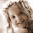 First Communion - portrait sepia — Stock Photo