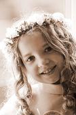 First Communion - portrait sepia — Stock Photo