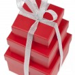 Stock Photo: Red gift boxes with silver ribbon.