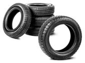 Tires on the white background — Stock Photo