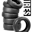 Tires on the white background — Stock Photo #9702738